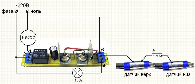 Датчики уровня воды для управления насосом